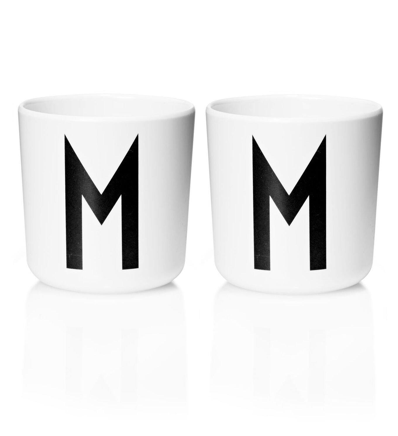 Design Letters - Personal Melamine Cup M - 2 pcs - White -(Bundle)