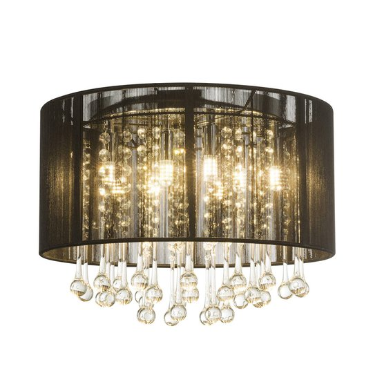 LED-taklampe Sierra med silkeskjerm og anheng