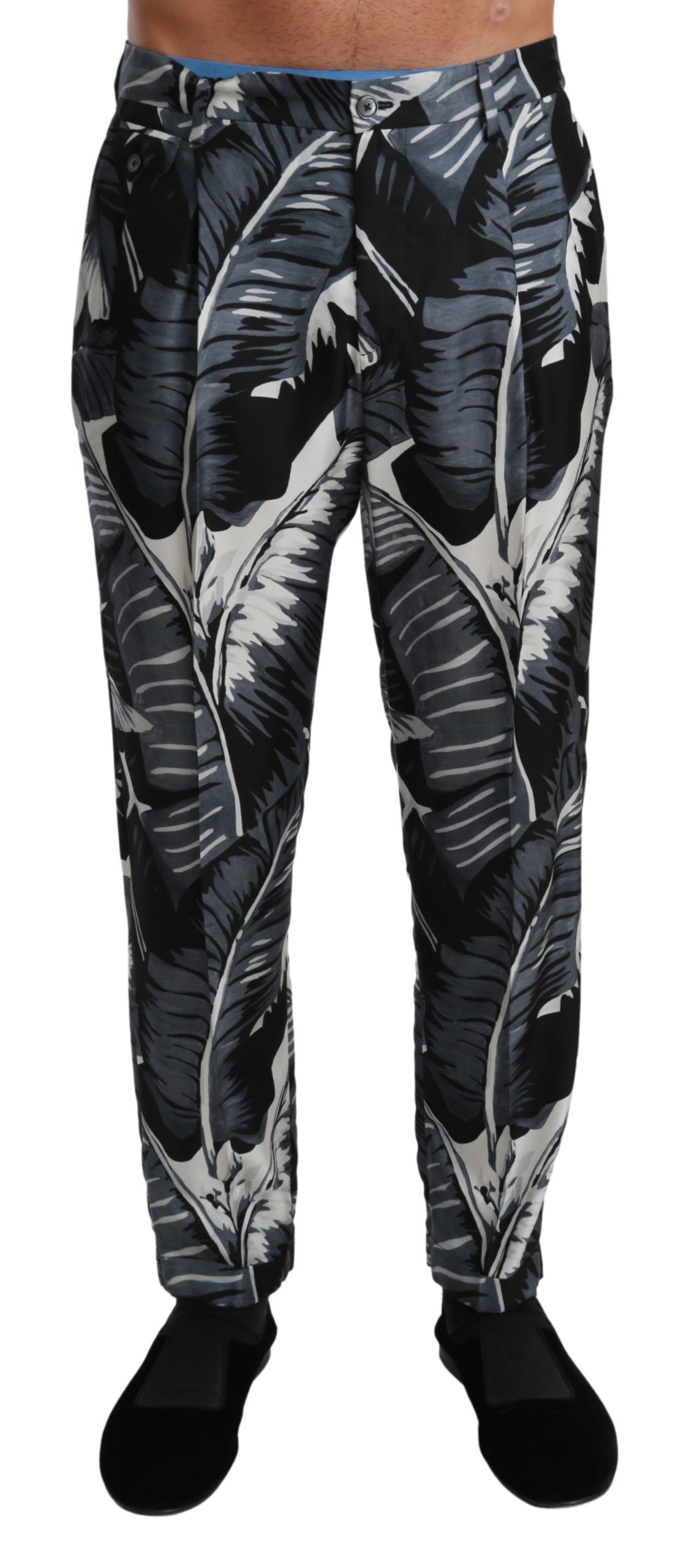 Dolce & Gabbana Men's Banana Leaf Casual Silk Trouser Black PAN71019 - IT46   S