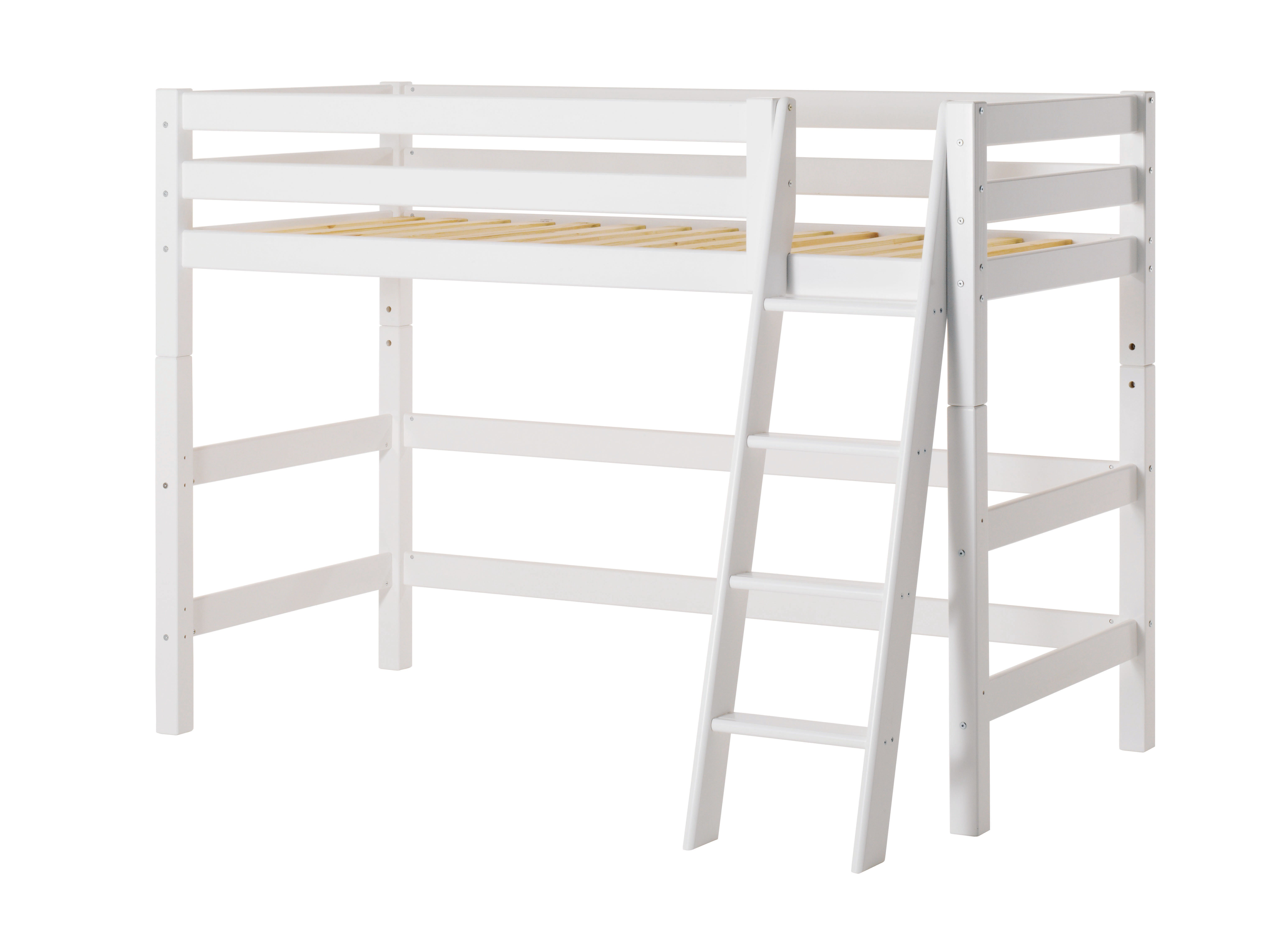 Hoppekids - PREMIUM Mid-high Bed 90x200 with Slant Ladder