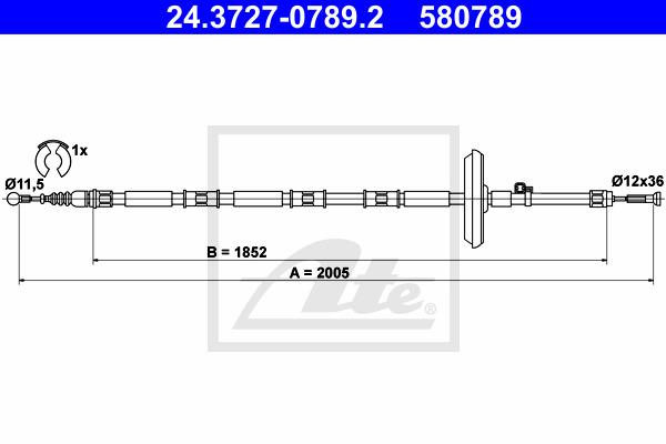 Käsijarruvaijeri ATE 24.3727-0789.2