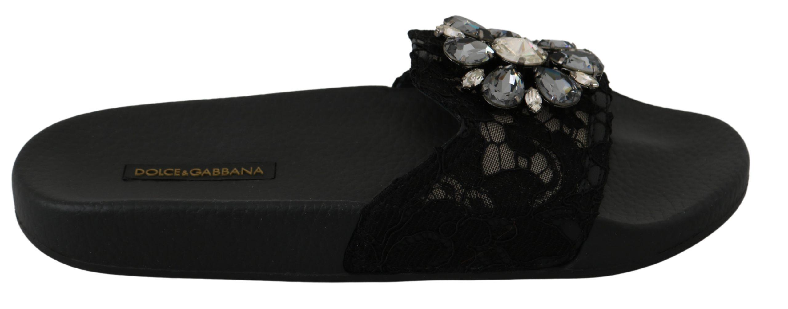 Dolce & Gabbana Women's Lace Crystal Beach Sandals Black LA6569 - EU35/US4.5