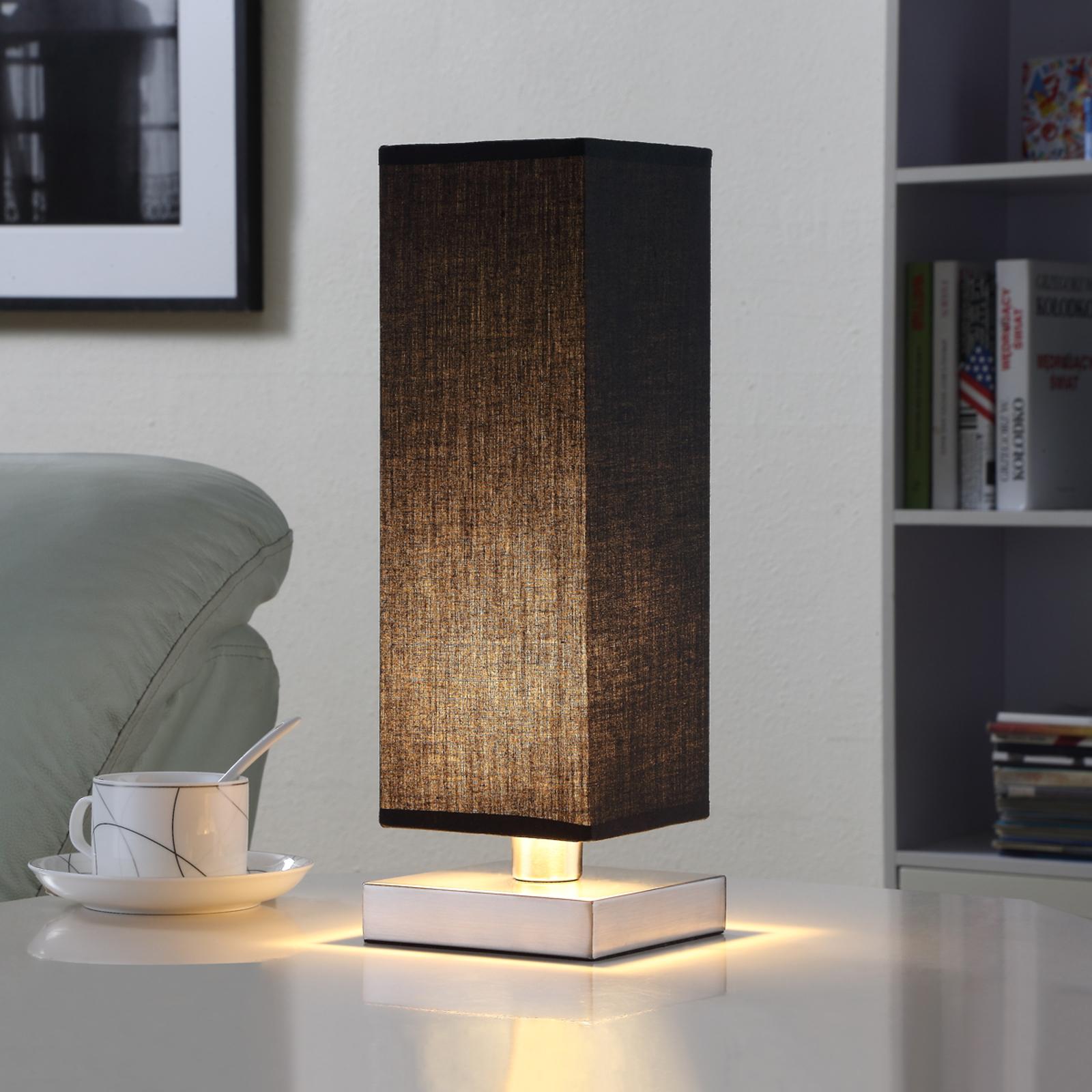 Musta kangaspöytävalaisin Martje, LED-lampulla