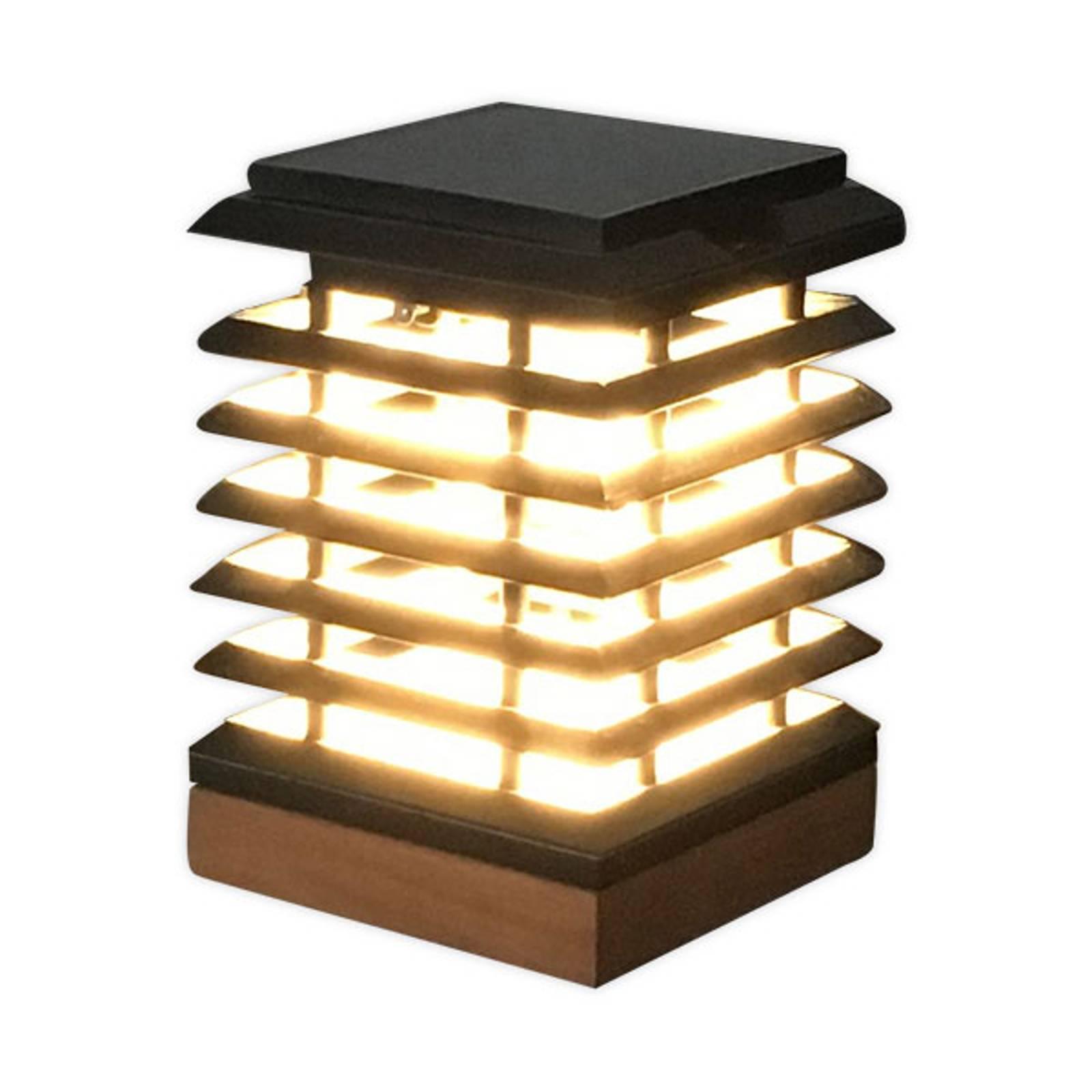 Aurinkokäyttöinen LED-pöytälamppu Tekura tiikkiä