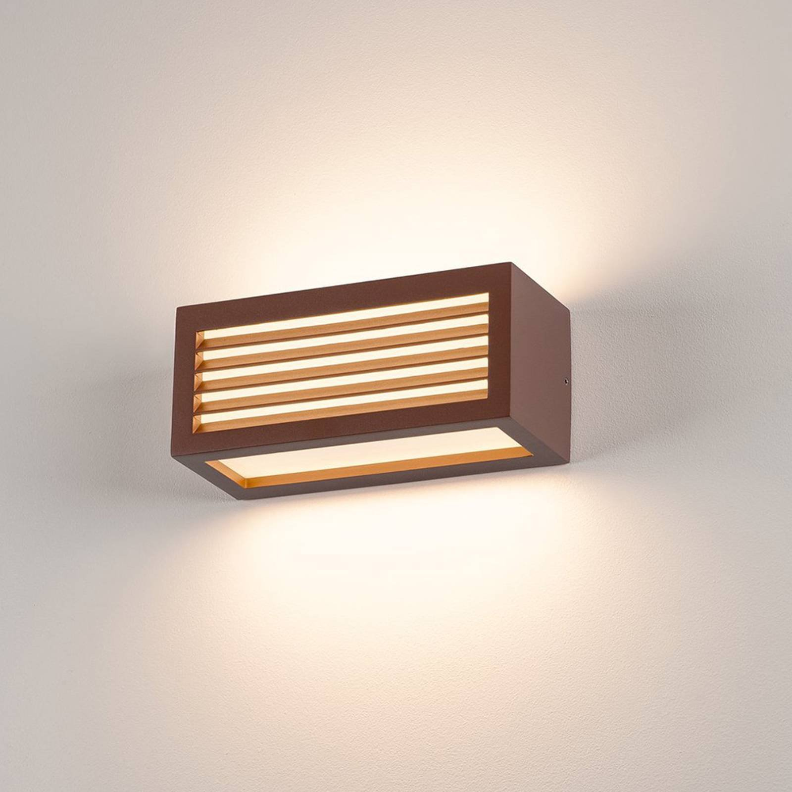 SLV Box-L LED-vegglampe, rust, direket/indirekte
