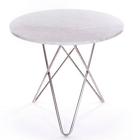 Dining O-table - Hvit marmor, krom understell
