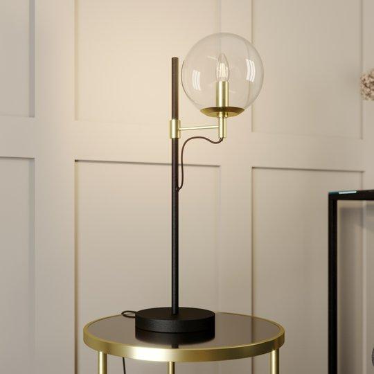 Lucande Sotiana -pöytävalo lasipallolla, messinki