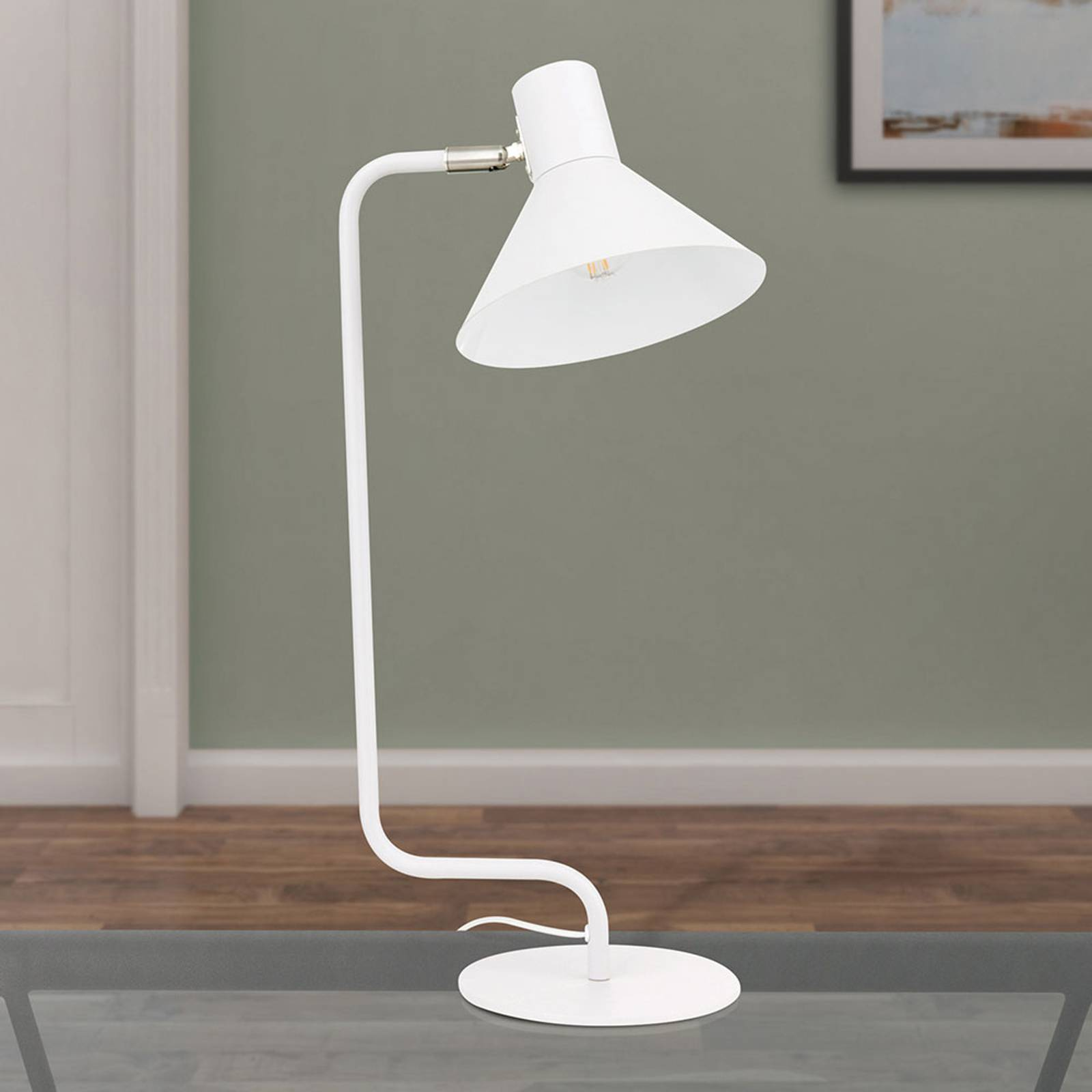 Työpöytälamppu Viktoria, säädettävä pää, valkoinen