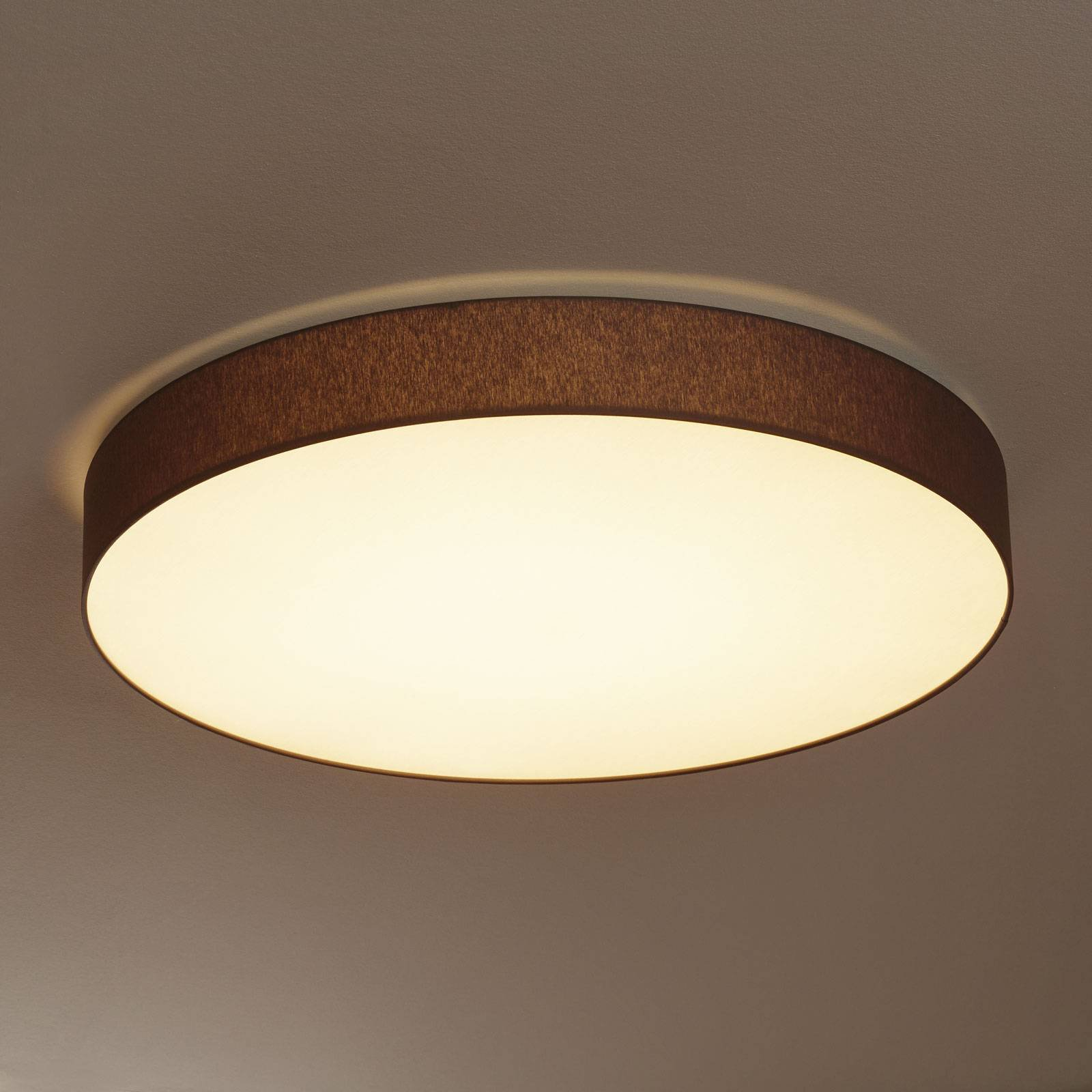 LED-taklampe Luno med chintzskjerm
