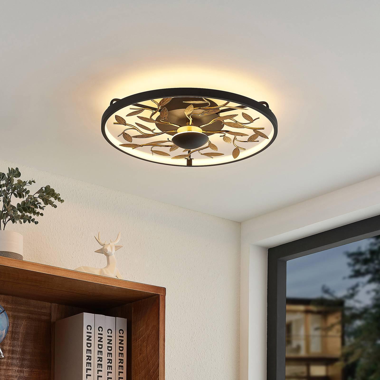 Lindby Annleorie -LED-kattovalaisin, musta, kulta