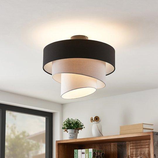 Lindby Coria taklampe, svart og grå