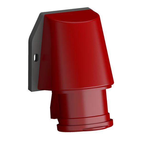 ABB 2CMA102334R1000 Vegginntak hurtigtilkoblet, vibrasjonsbestandig Rød, 16 A, 5-polet, IP44, med lokk
