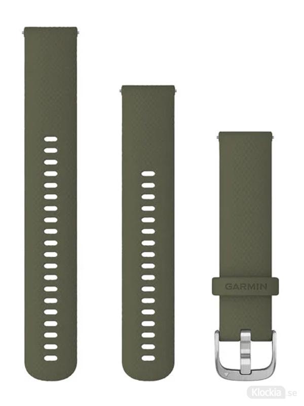 Garmin Armband 20mm med snäppspänne, Mossgrönt silikonarmband med silverfärgade detaljer