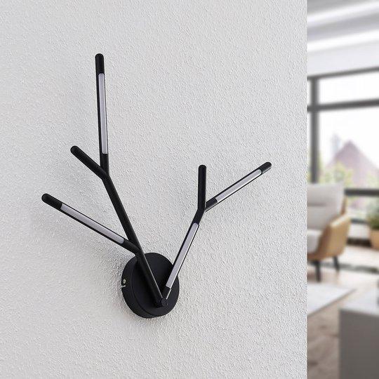 Lucande Cuerno -LED-seinävalaisin musta-valkoinen