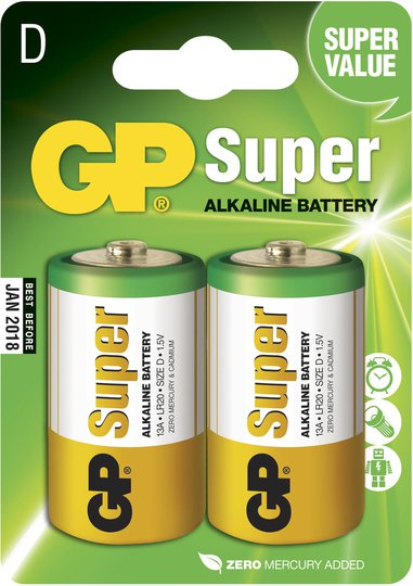 GP Batterier Super Alkaline D-Batteri 13A LR14 2-pack