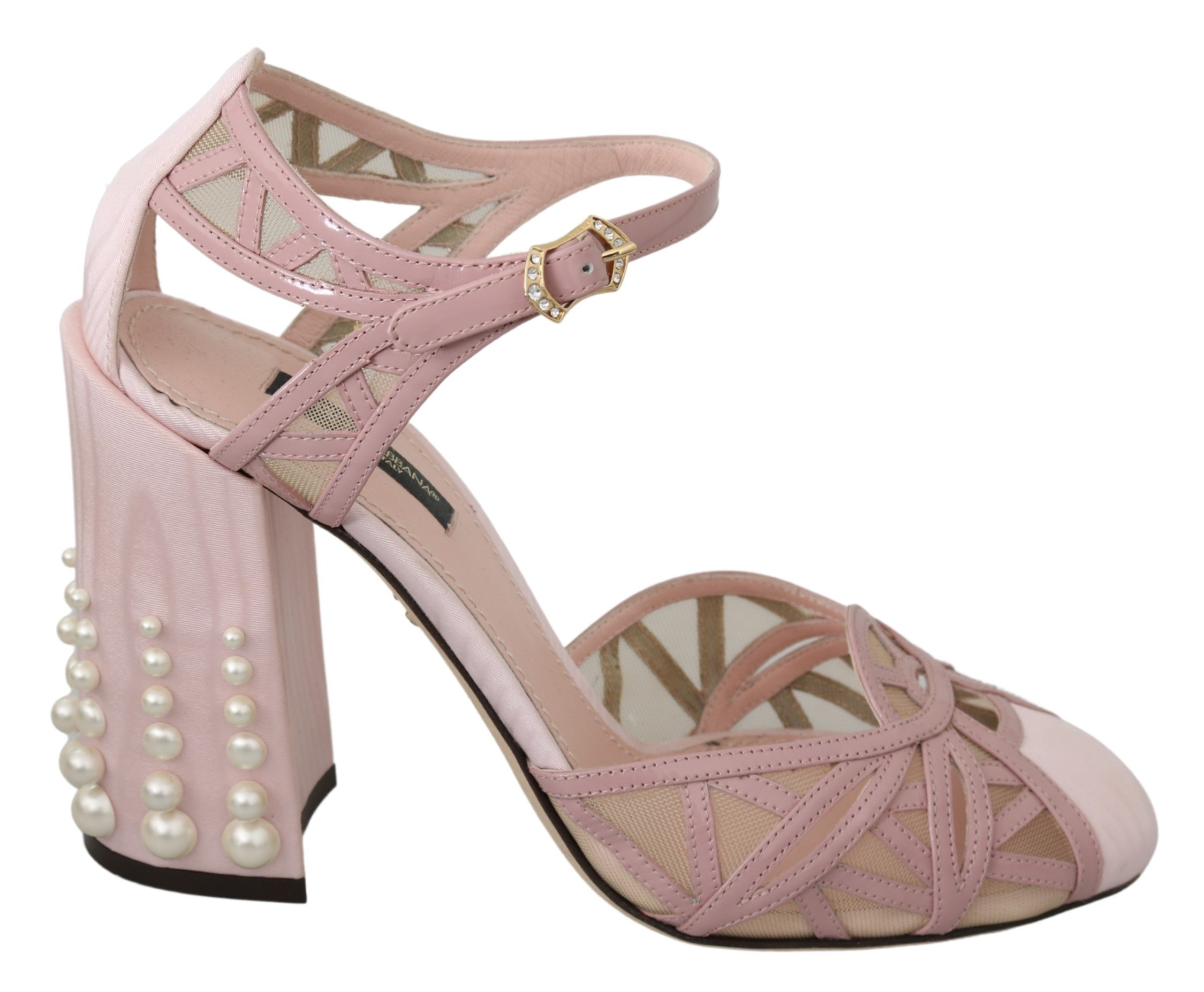 Dolce & Gabbana Women's Pearls Ankle Strap Leather Sandal Pink LA6907 - EU39/US8.5