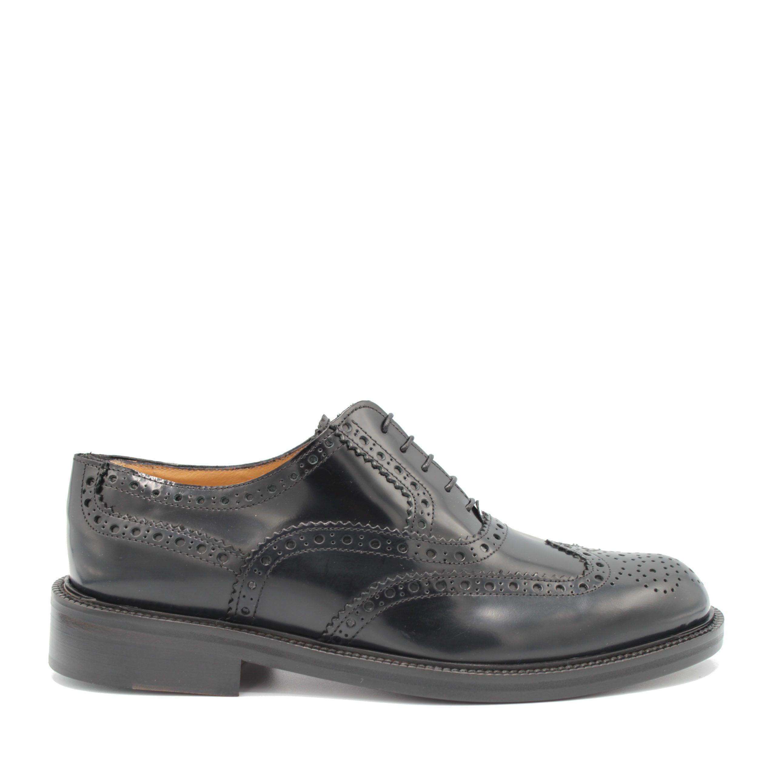 Saxone of Scotland Men's Spazzolato Leather Laced Brogue Shoe Black 080_Black - EU39.5/US6.5