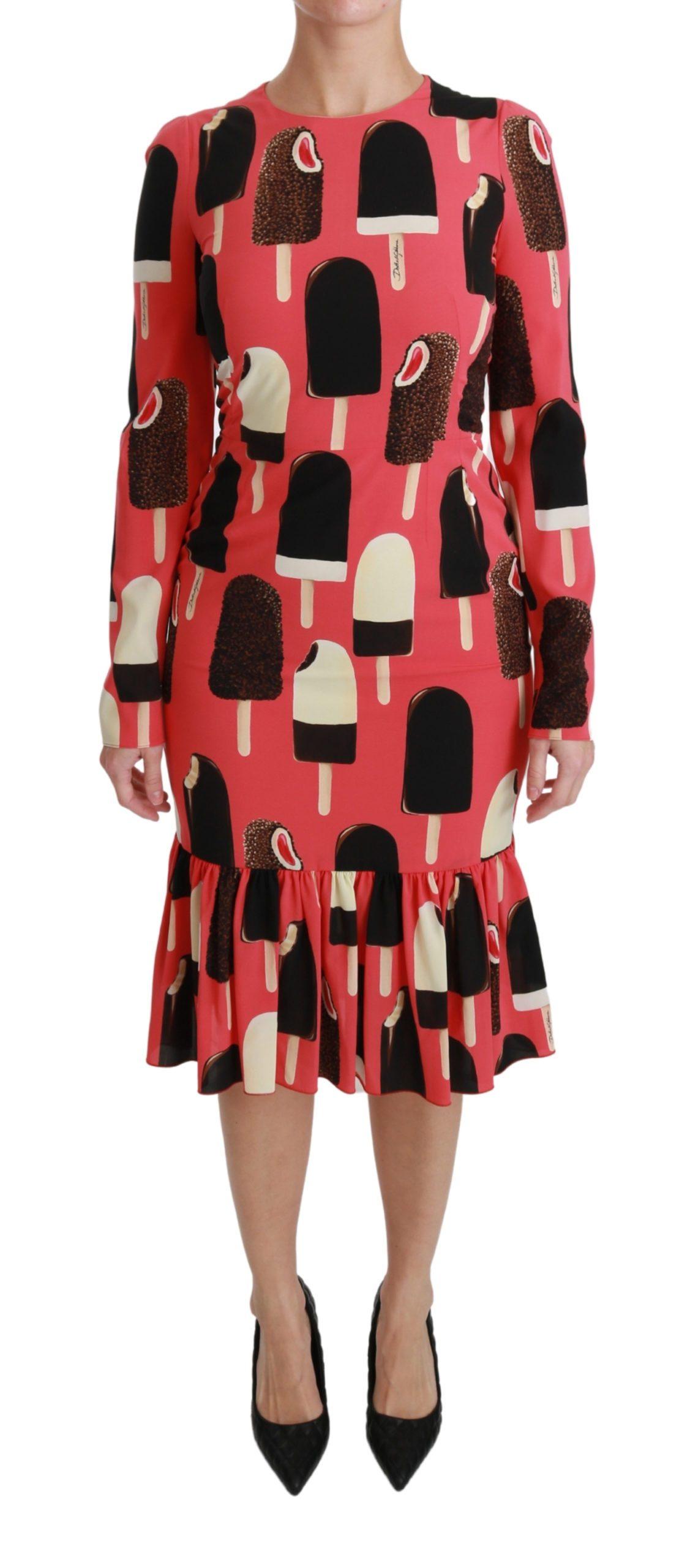 Dolce & Gabbana Women's Silk Stretch Ice Cream Sheath Dress Pink DR2506 - IT36   XS