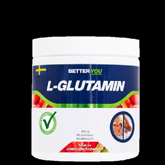 Naturligt L-Glutamin, 300 g, Jordgubb/Rabarber