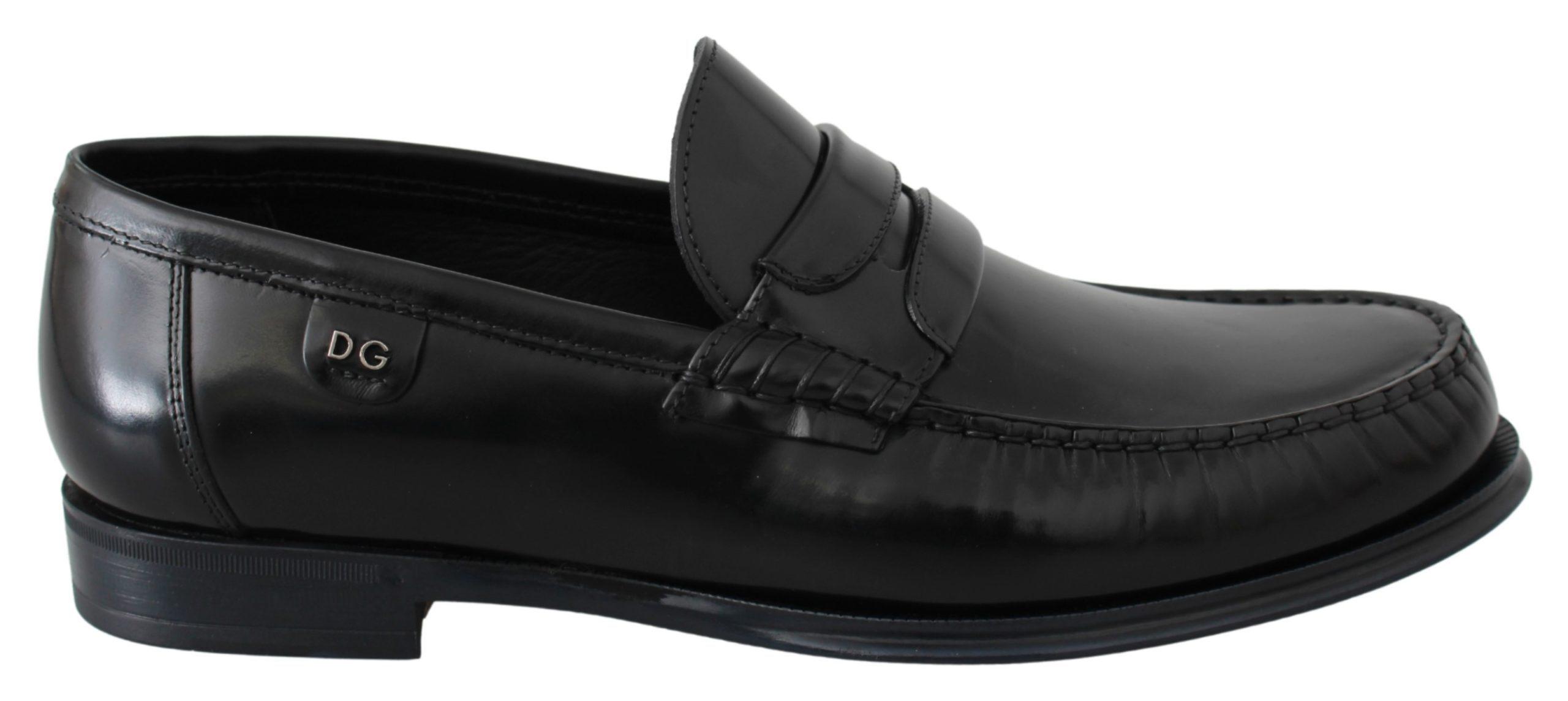 Black Leather Moccasins Dress Loafers Shoes - EU40/US7