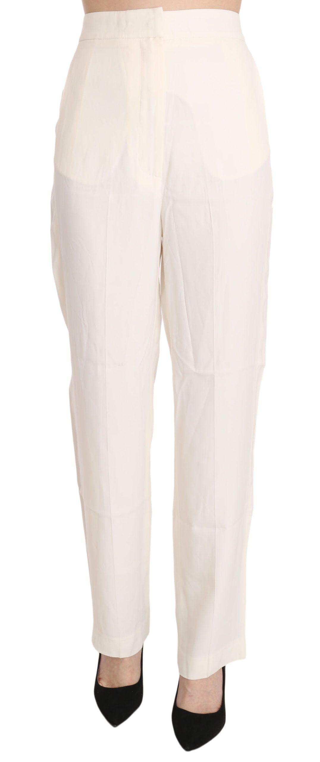 Dondup Women's High Waist Straight Cut Dress Trouser White PAN70096 - IT42|M