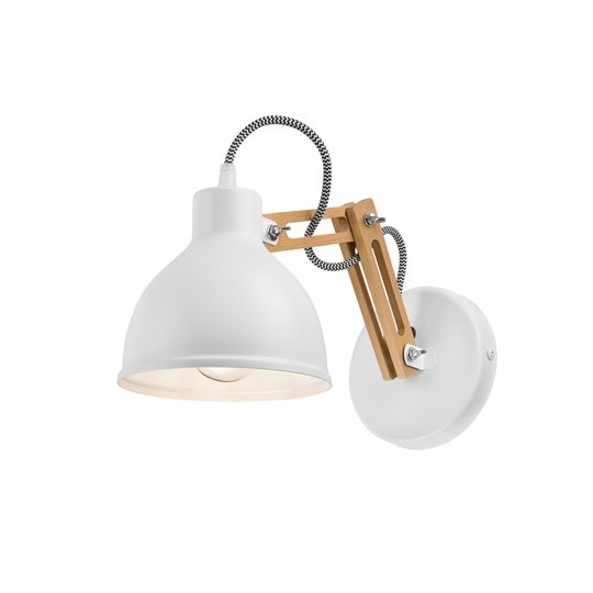Vegglampe Skansen, justerbar trearm, hvit