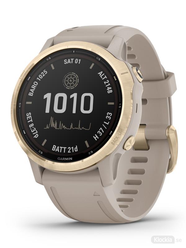 Garmin fenix 6S Pro Solar Ljust guld med ljust sandfärgat armband 010-02409-11