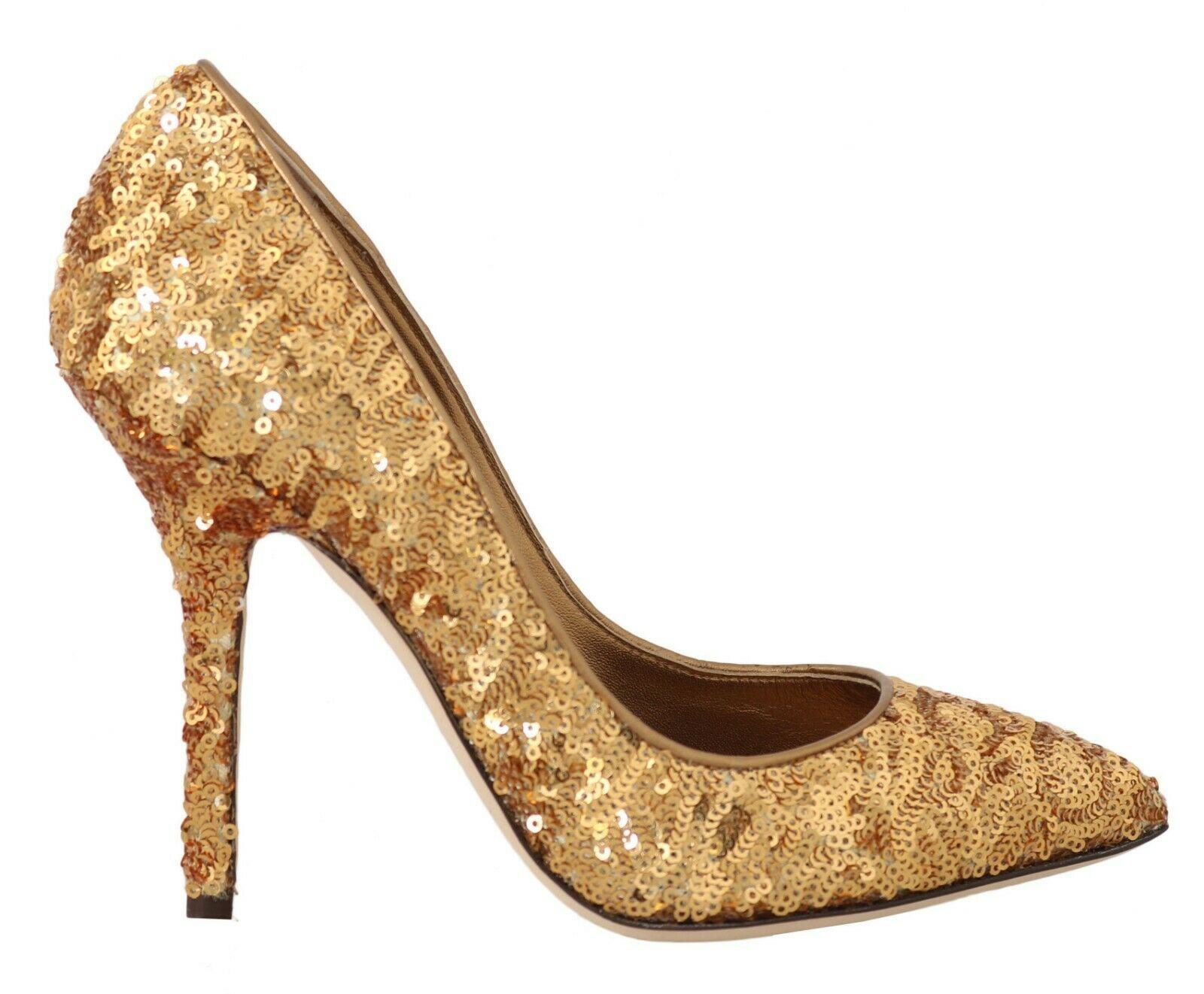 Dolce & Gabbana Women's Sequined Leather Heel Gold LA4469 - EU36/US5.5