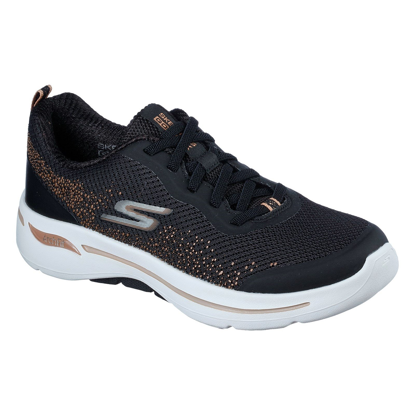Skechers Women's Go Walk Arch Fit Flying Stars Trainer Various Colours 32841 - Black/Gold 3