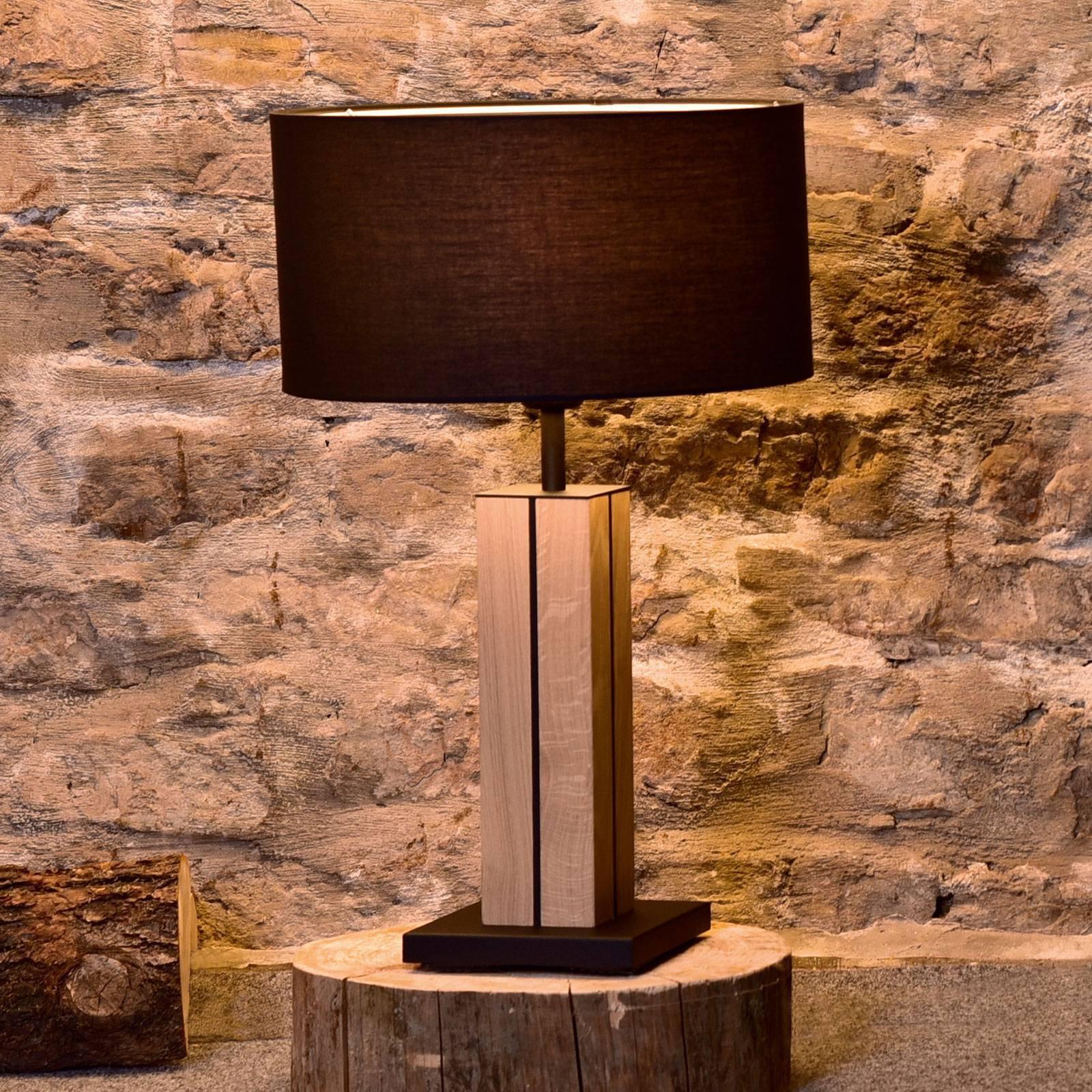 HerzBlut Dana bordlampe, eik natur, svart, 56 cm