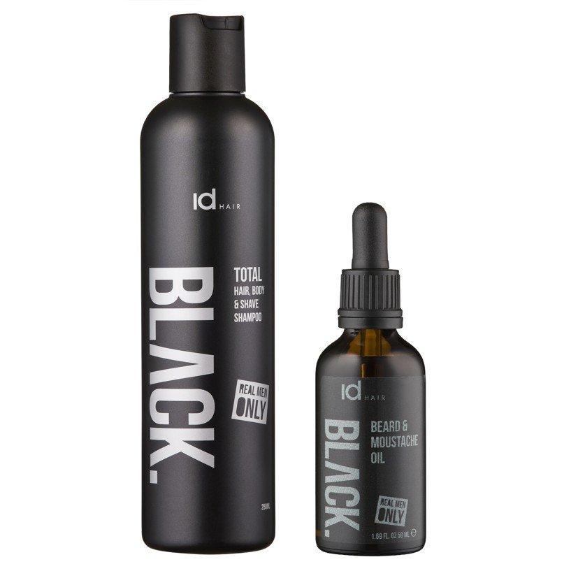IdHAIR - Black Shampoo Total 3 in 1 250 ml + Black Beard Oil 50 ml