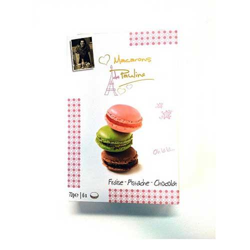 Pauline Macarons - Choklad, Jordgubb & Pistage 6-Pack