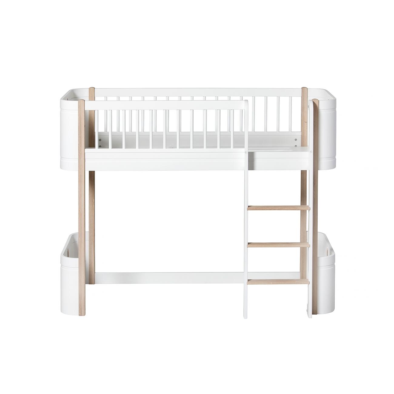 Loftsäng Wood Mini+ vit/ek, Oliver Furniture
