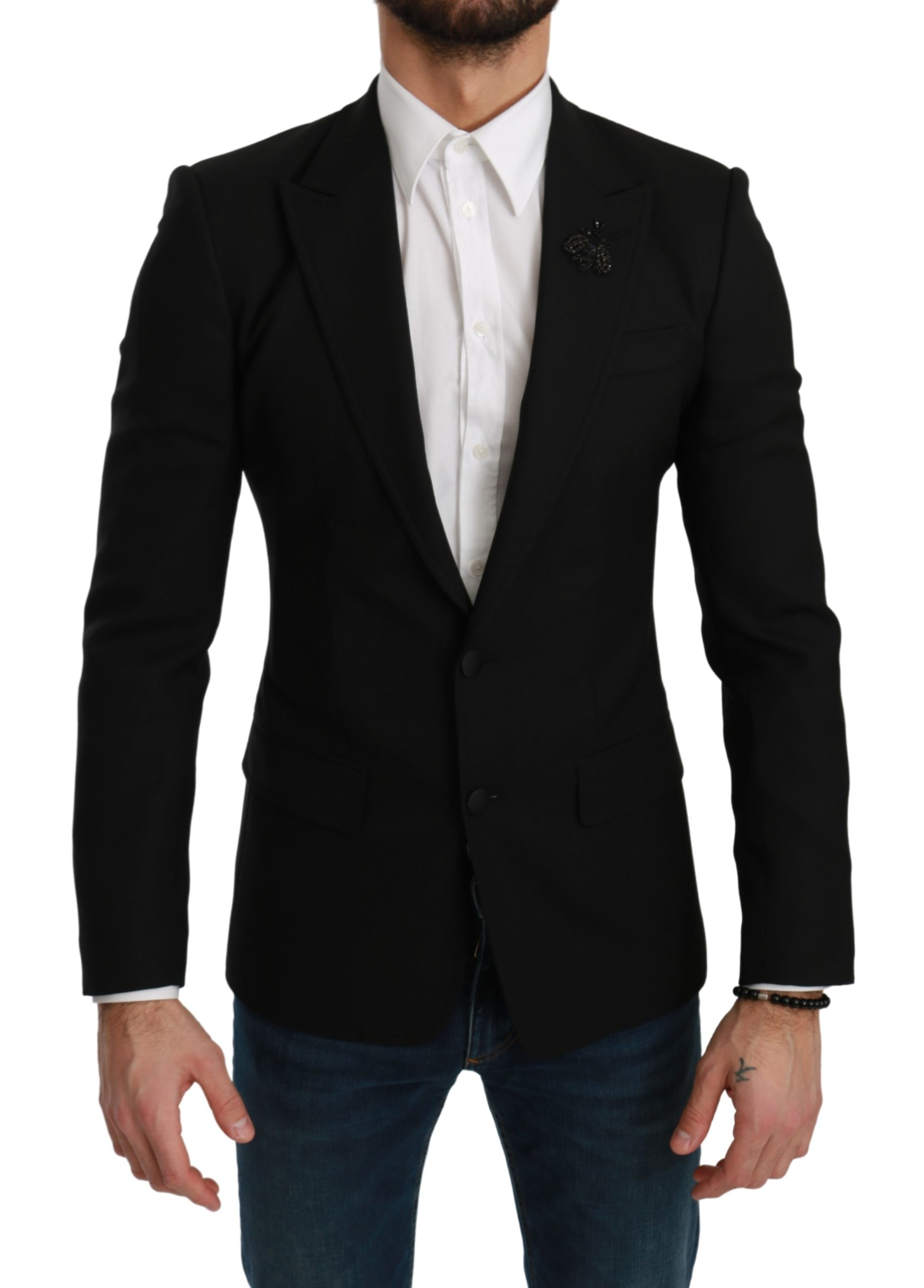 Dolce & Gabbana Men's Stretch Slim Fit Wool Blazer Black KOS1770 - IT44 | XS