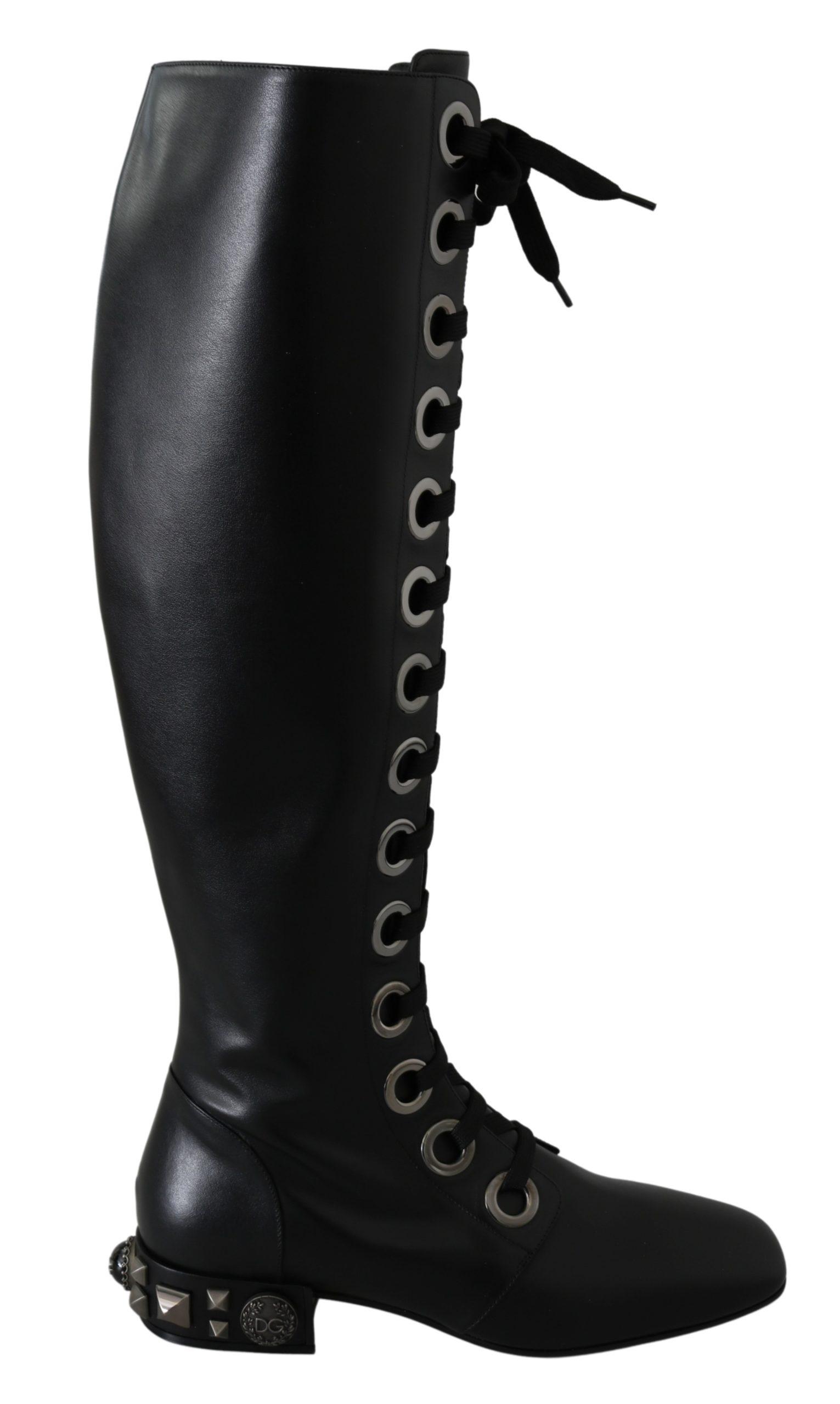 Black Leather Knee Biker Studs Boots Shoes - EU37/US6.5