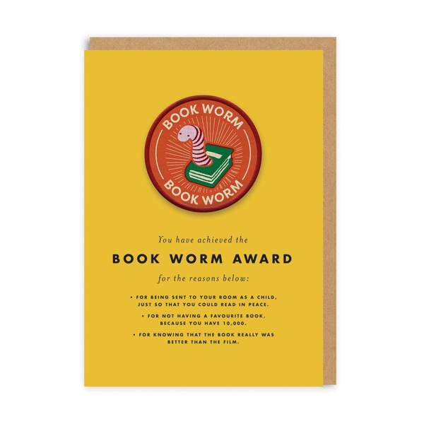 Book Worm Woven Patch Greeting Card