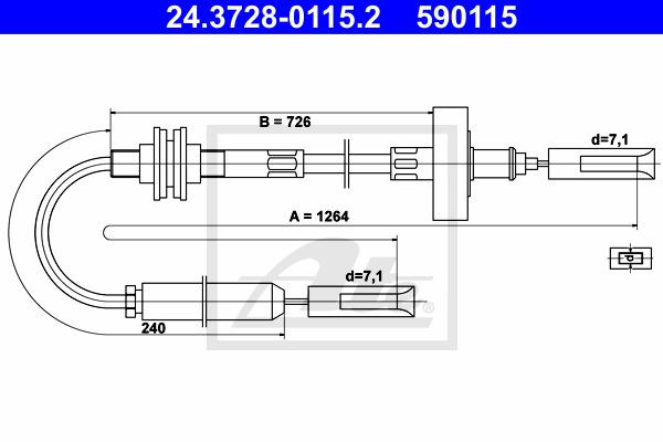 Kytkinvaijeri ATE 24.3728-0115.2