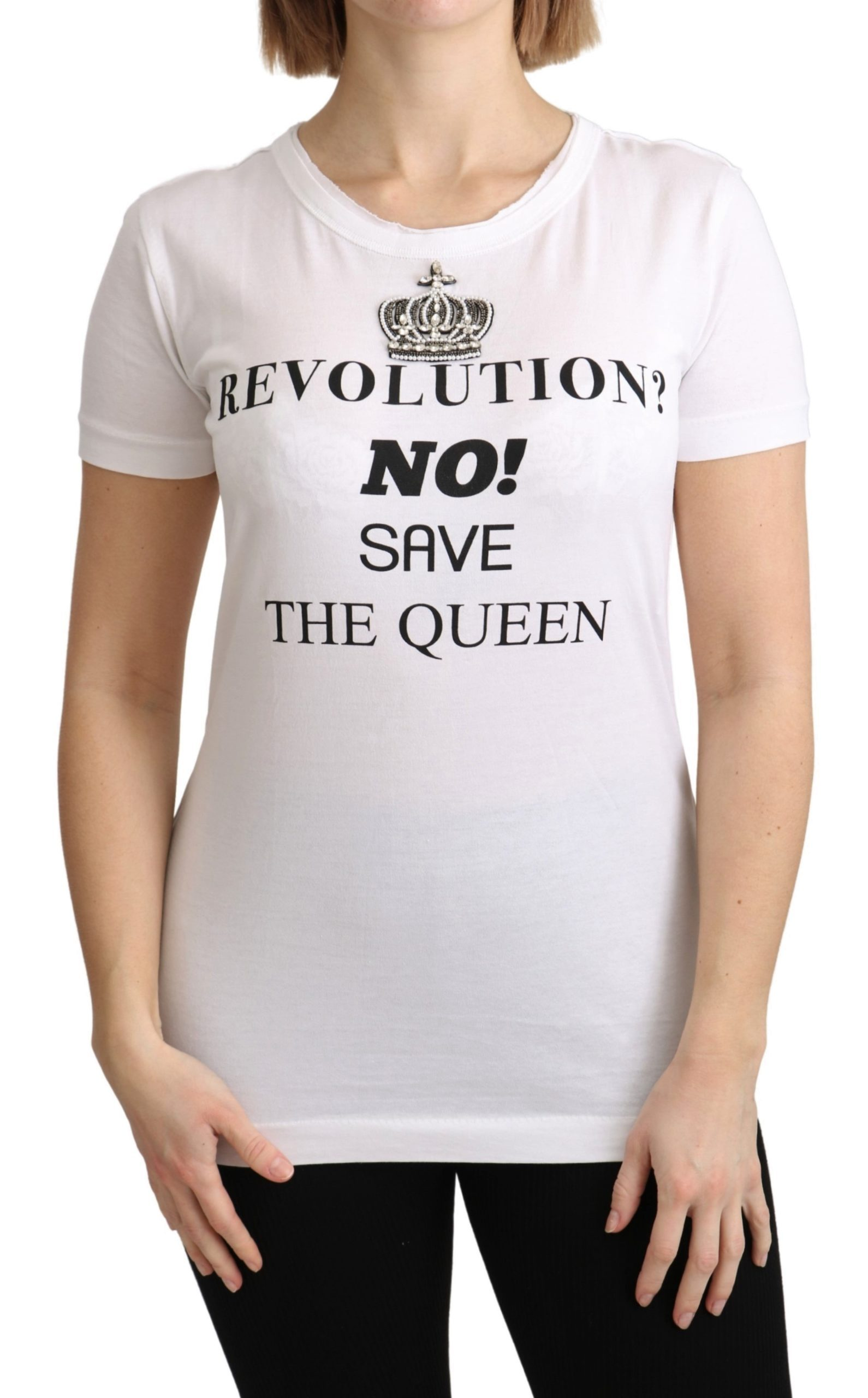 Dolce & Gabbana Women's The Queen Crystal Crewneck T-Shirt White TSH4876 - IT40 S
