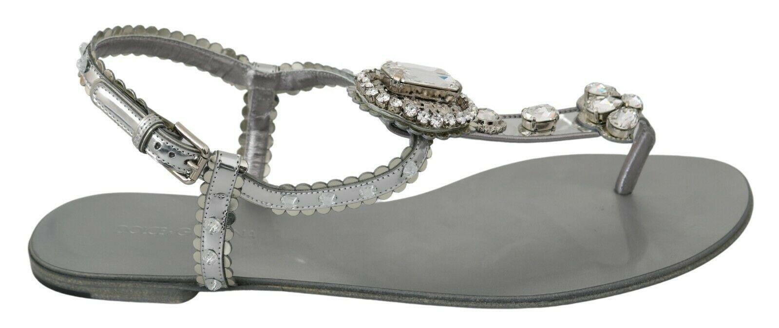 Dolce & Gabbana Women's Crystal Sandals Silver LA6578 - EU36/US5.5