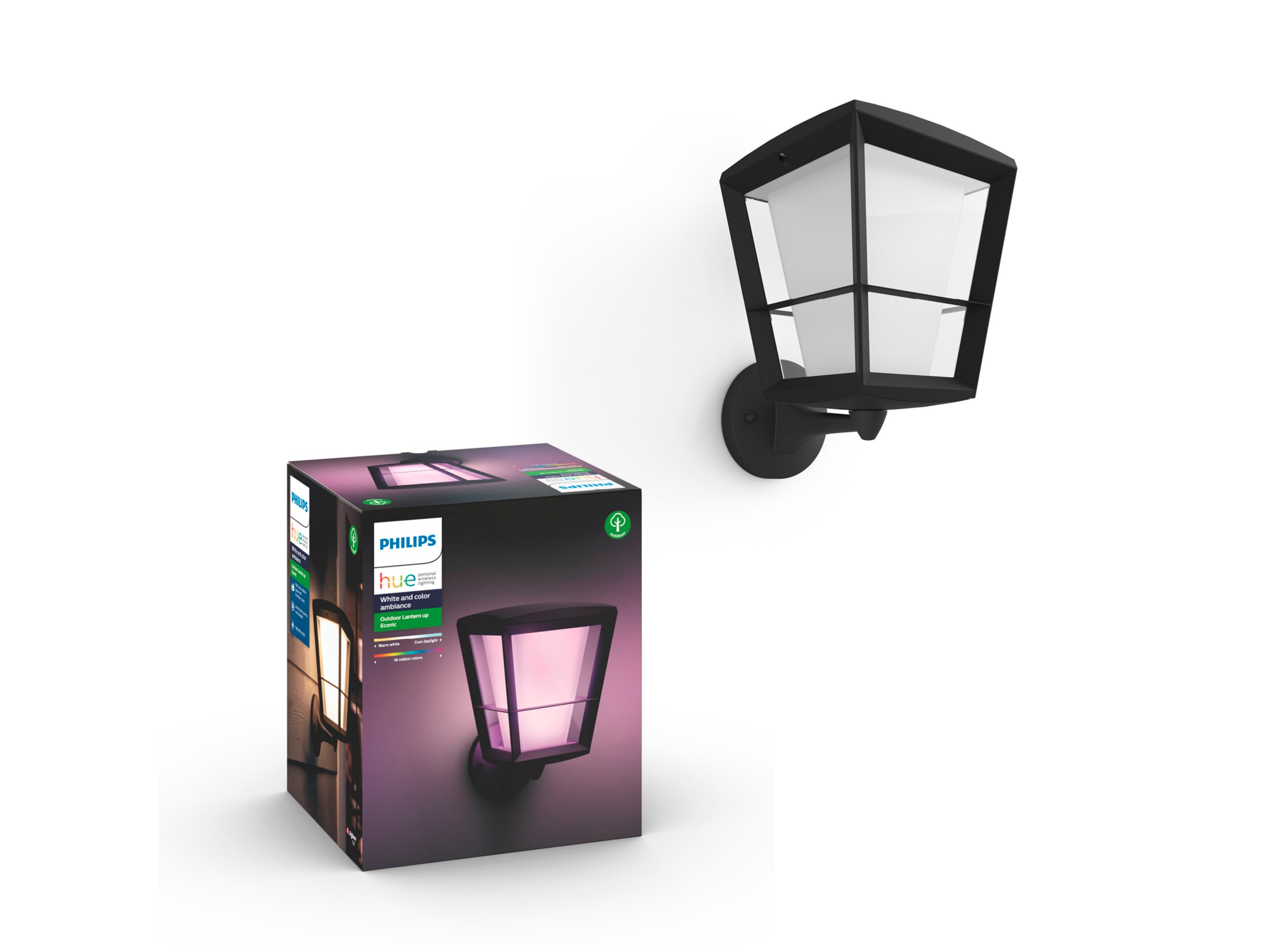 Philips Hue - Econic Up Wall Lantern Outdoor - White & Color Ambiance