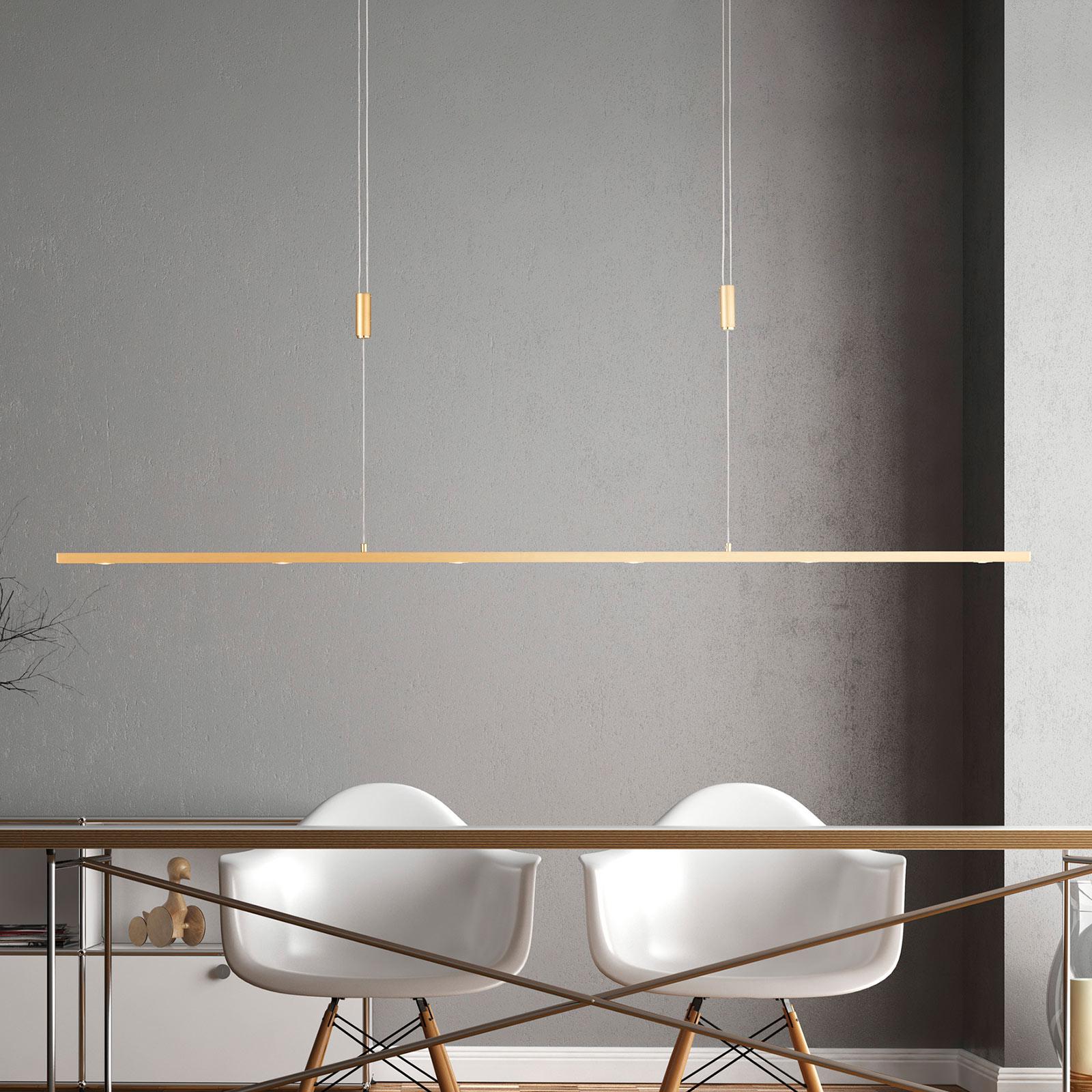 Lucande Tolu LED-riippuvalaisin, messinki, 139 cm