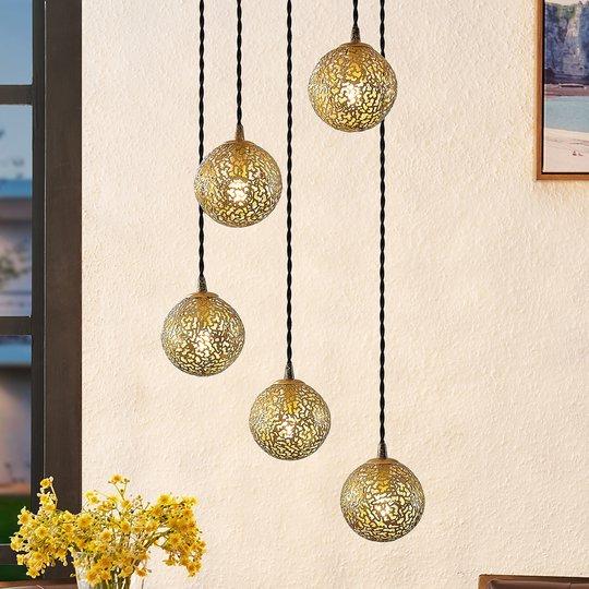 Lucande Zale -riippuvalo pyöreä 5-lamppuinen