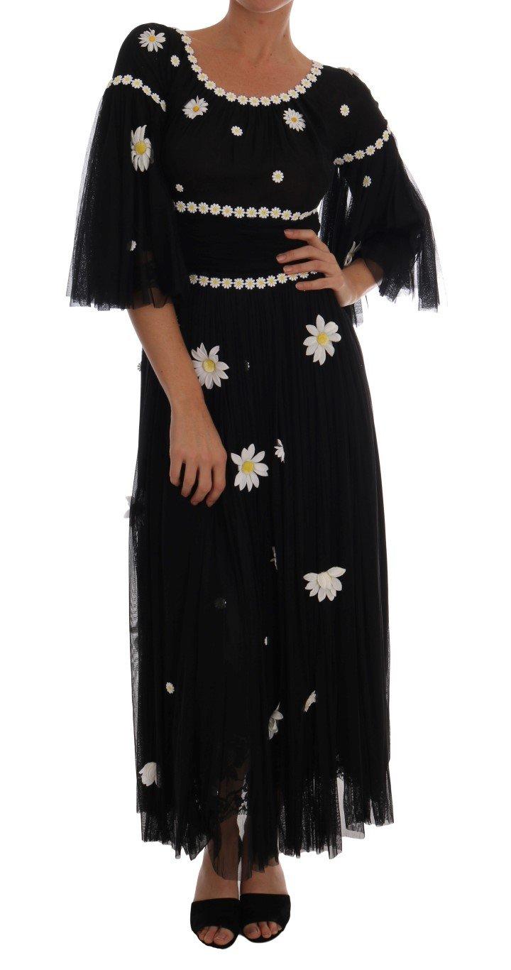Dolce & Gabbana Women's Silk Daisy Embroidered Dress Black DR1297 - IT40|S