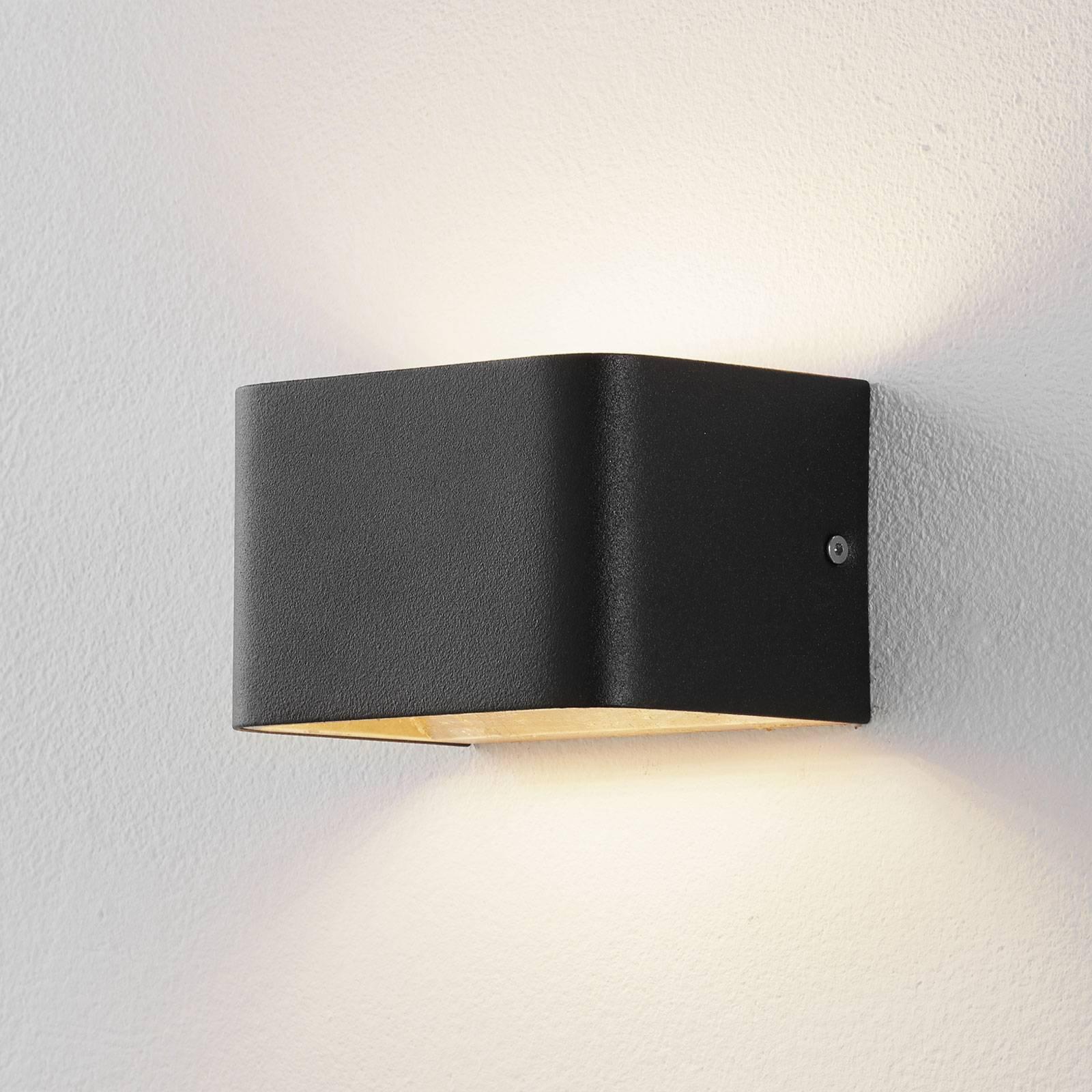 Lucande Sessa LED-vegglampe 13 cm svart-gull