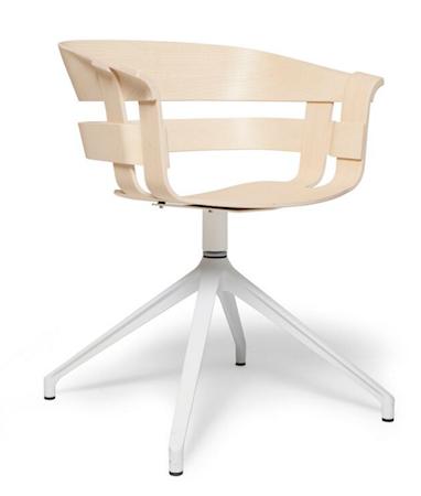 Wick stol – Ask/Hvit snurrebass