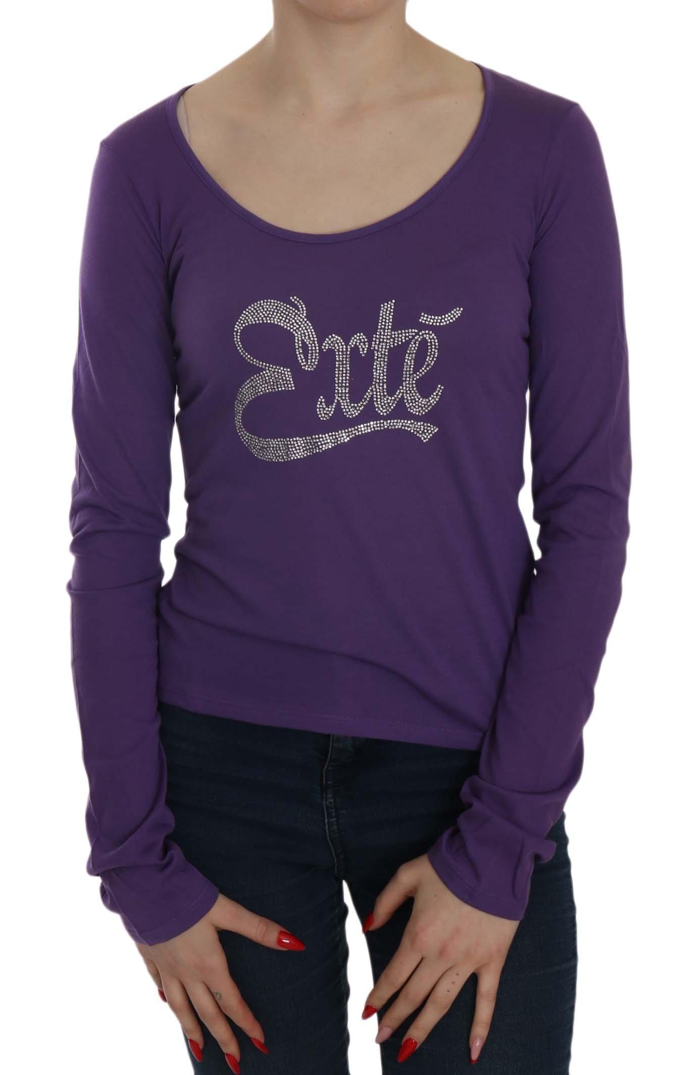 Exte Women's Crystal Embellished LS Casual Top Purple TSH3908 - IT38 XS