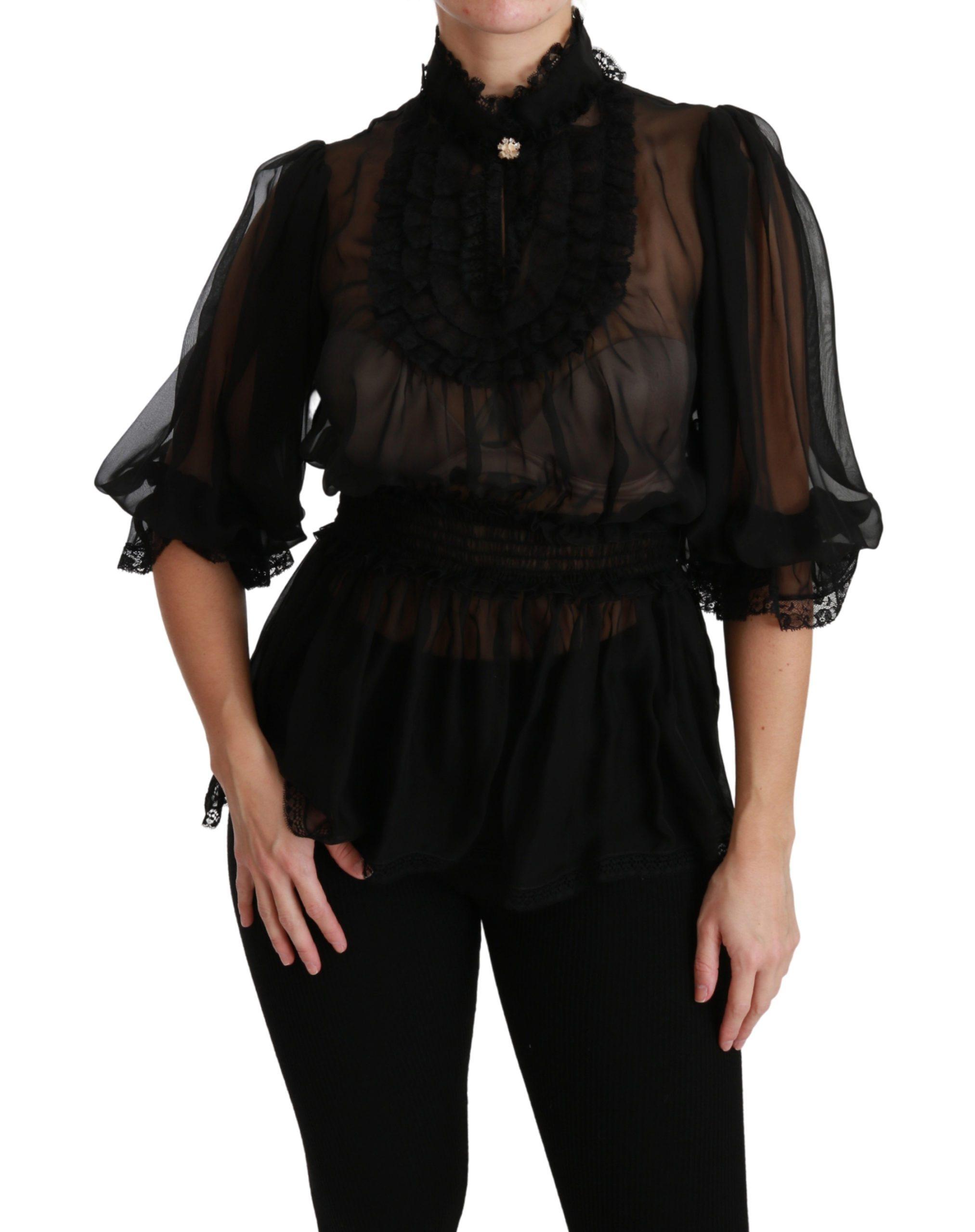 Dolce & Gabbana Women's Ruffle Shear Silk Top Black TSH4497 - IT40|S