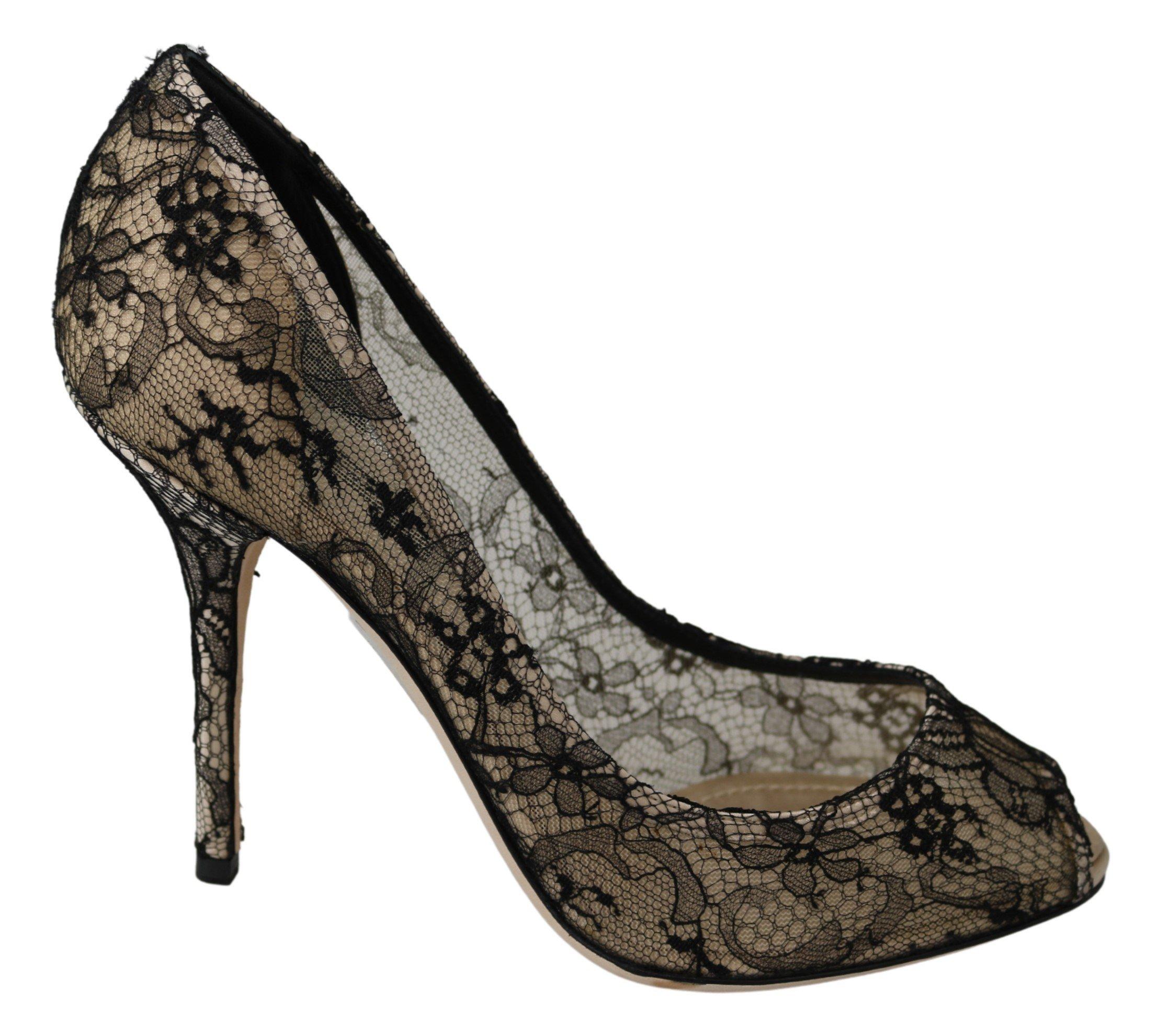 Gold Black Lace Stiletto Heels Pumps Shoes - EU38.5/US8