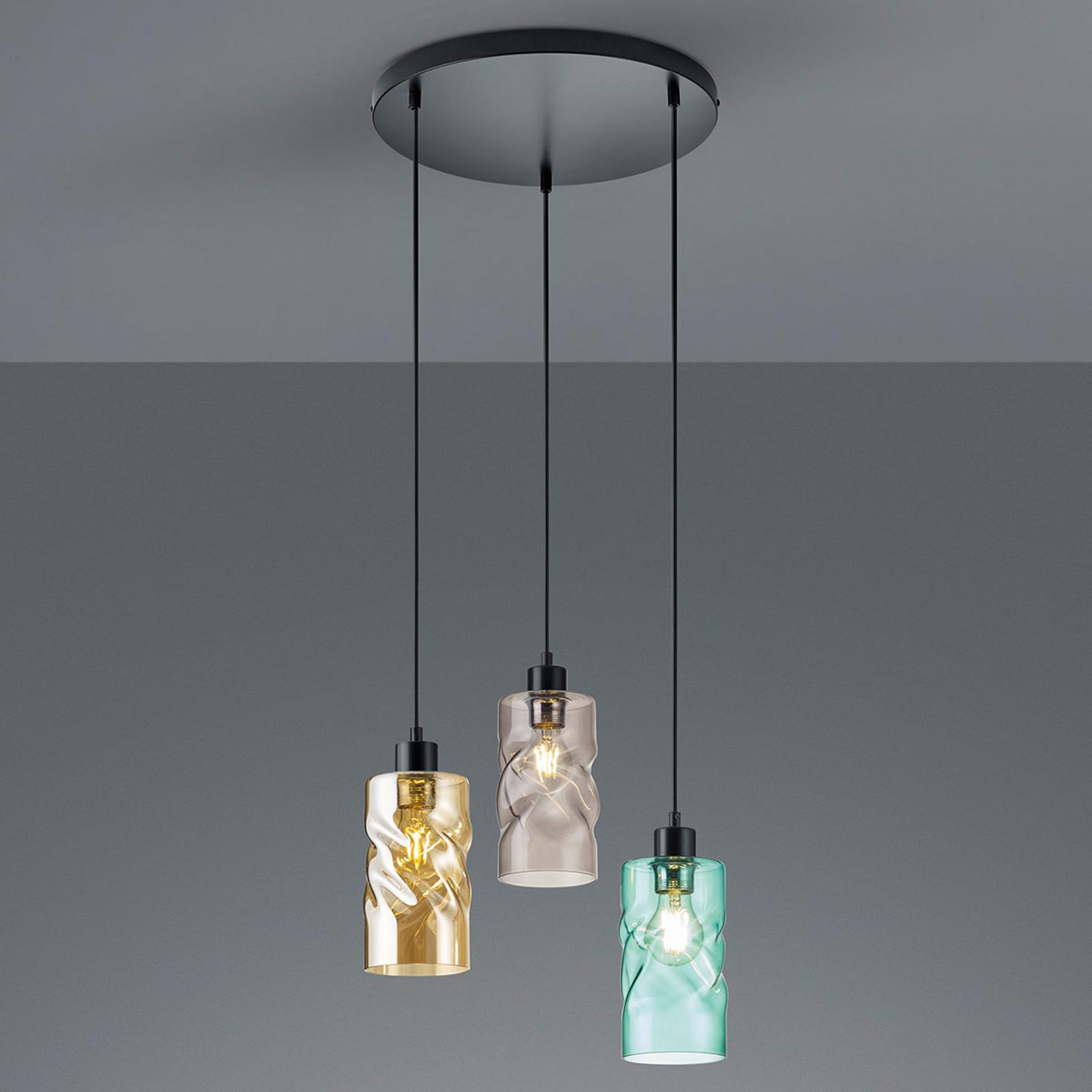 Riippuvalo Swirl, asivarjost., 3-lamp., pyöreä