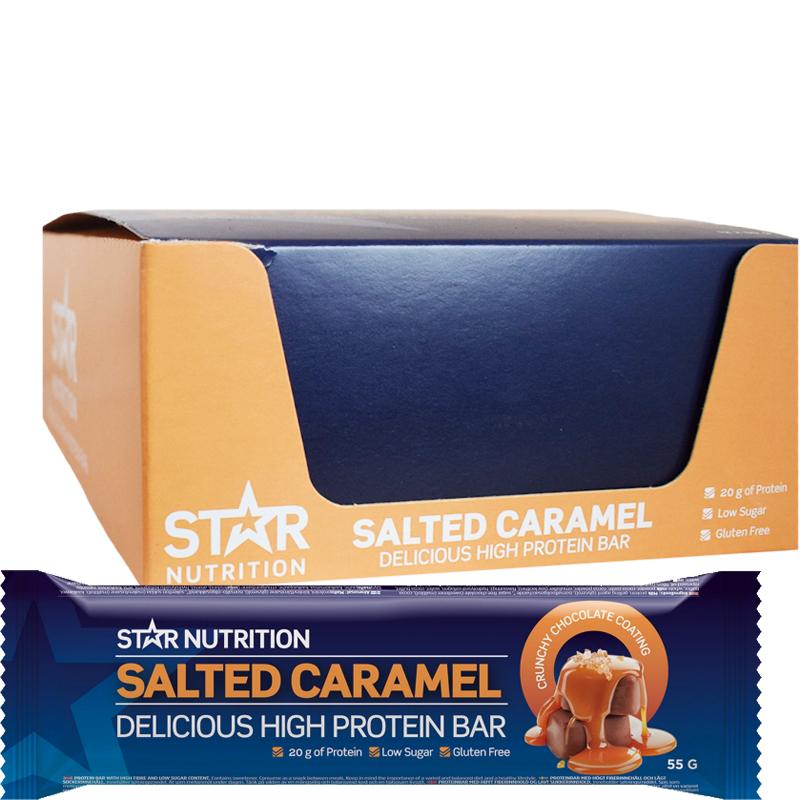 "Hel Låda Proteinbars ""Salted Caramel"" 12 x 55g - 33% rabatt"